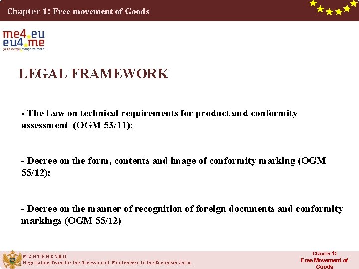 Chapter 1: Free movement of Goods LEGAL FRAMEWORK - The Law on technical requirements