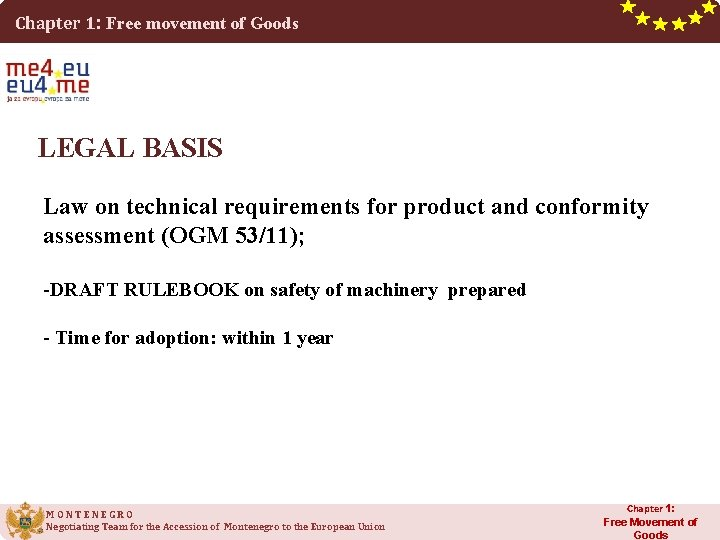 Chapter 1: Free movement of Goods LEGAL BASIS Law on technical requirements for product