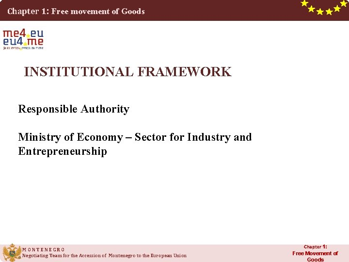 Chapter 1: Free movement of Goods INSTITUTIONAL FRAMEWORK Responsible Authority Ministry of Economy –