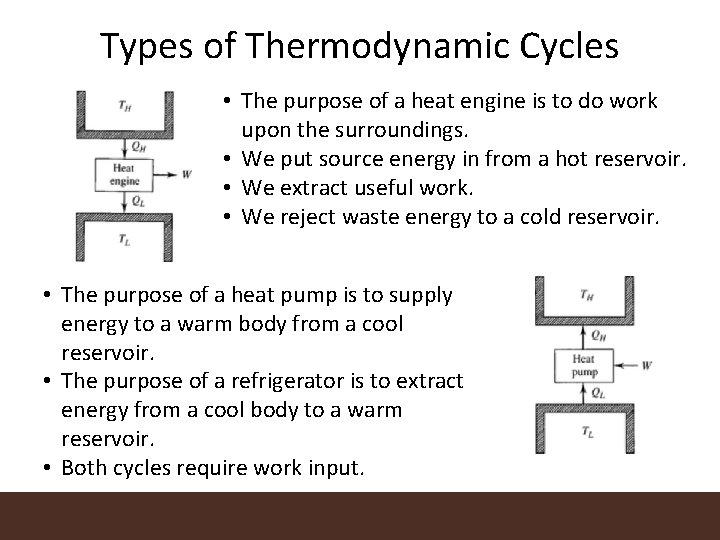 Types of Thermodynamic Cycles • The purpose of a heat engine is to do