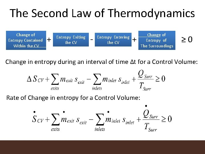 The Second Law of Thermodynamics Change of Entropy Contained Within the CV + Entropy