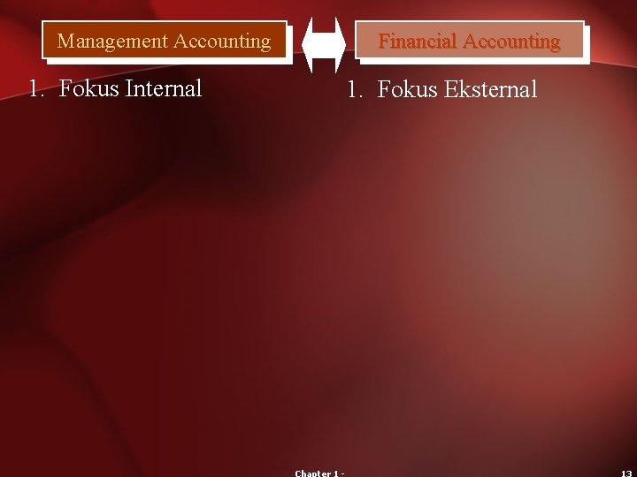 Management Accounting 1. Fokus Internal Financial Accounting 1. Fokus Eksternal