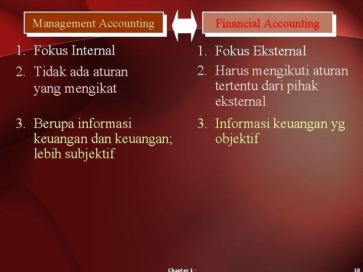 Management Accounting Financial Accounting 1. Fokus Internal 2. Tidak ada aturan yang mengikat 1.