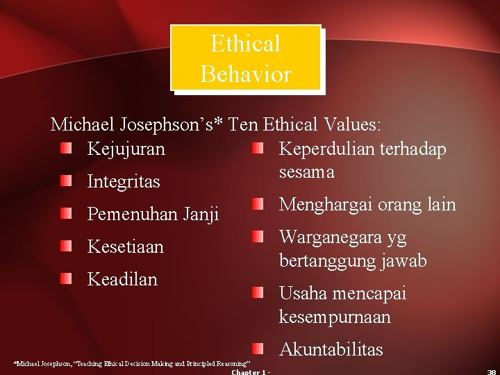Ethical Behavior Michael Josephson's* Ten Ethical Values: Kejujuran Keperdulian terhadap sesama Integritas Pemenuhan Janji