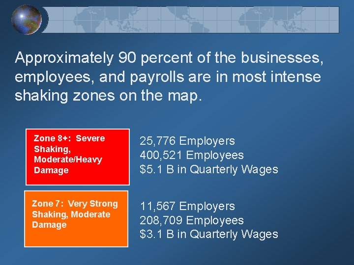Approximately 90 percent of the businesses, employees, and payrolls are in most intense shaking