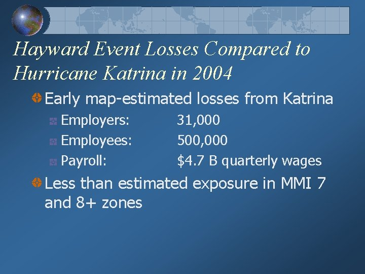 Hayward Event Losses Compared to Hurricane Katrina in 2004 Early map-estimated losses from Katrina