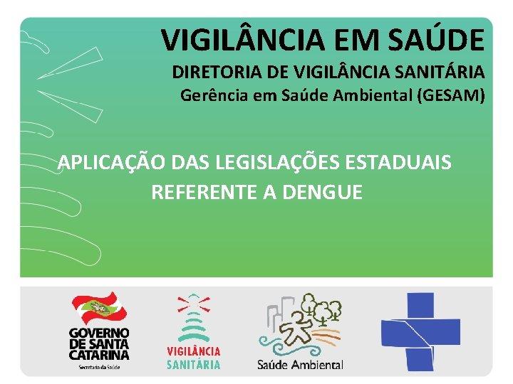 VIGIL NCIA EM SAÚDE DIRETORIA DE VIGIL NCIA SANITÁRIA Gerência em Saúde Ambiental (GESAM)