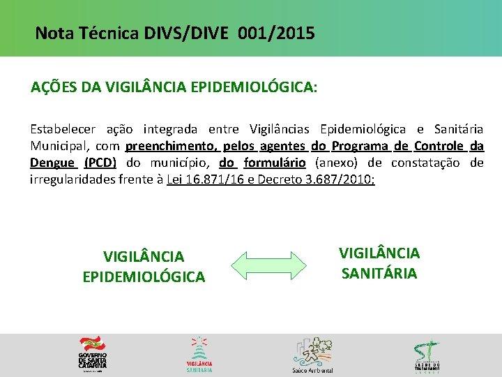 Nota Técnica DIVS/DIVE 001/2015 AÇÕES DA VIGIL NCIA EPIDEMIOLÓGICA: Estabelecer ação integrada entre Vigilâncias