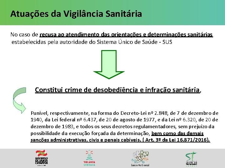 Atuações da Vigilância Sanitária No caso de recusa ao atendimento das orientações e determinações