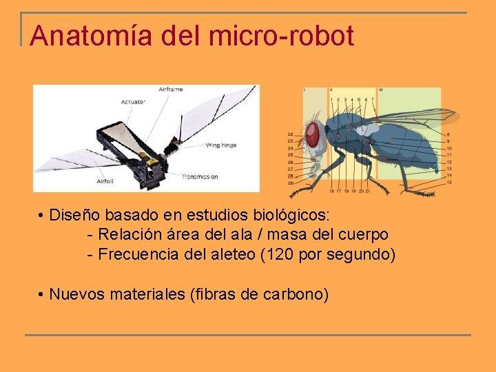 Anatomía del micro-robot • Diseño basado en estudios biológicos: - Relación área del ala