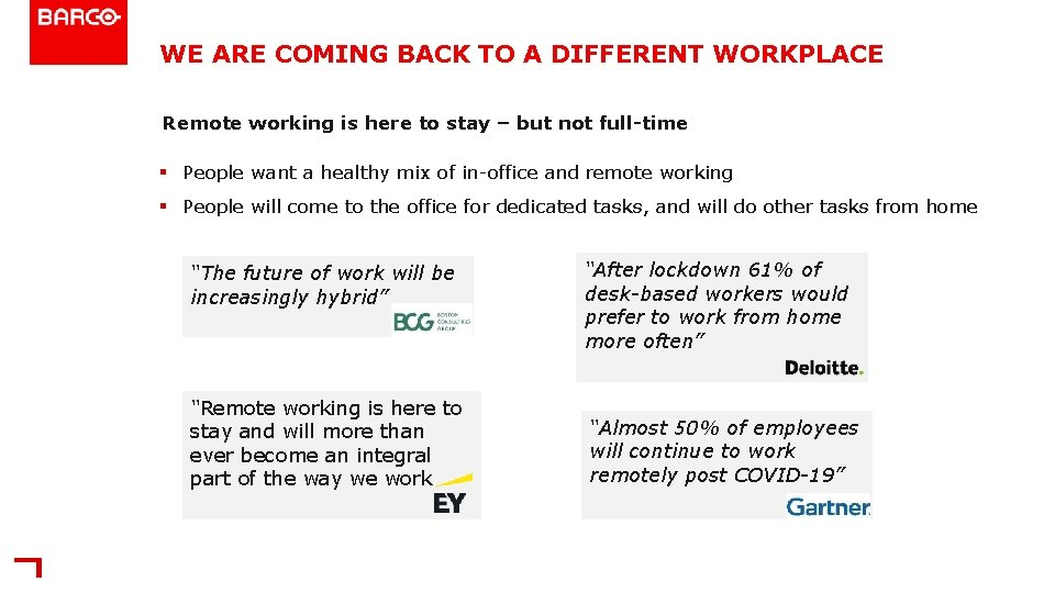 WE ARE COMING BACK TO A DIFFERENT WORKPLACE Remote working is here to stay