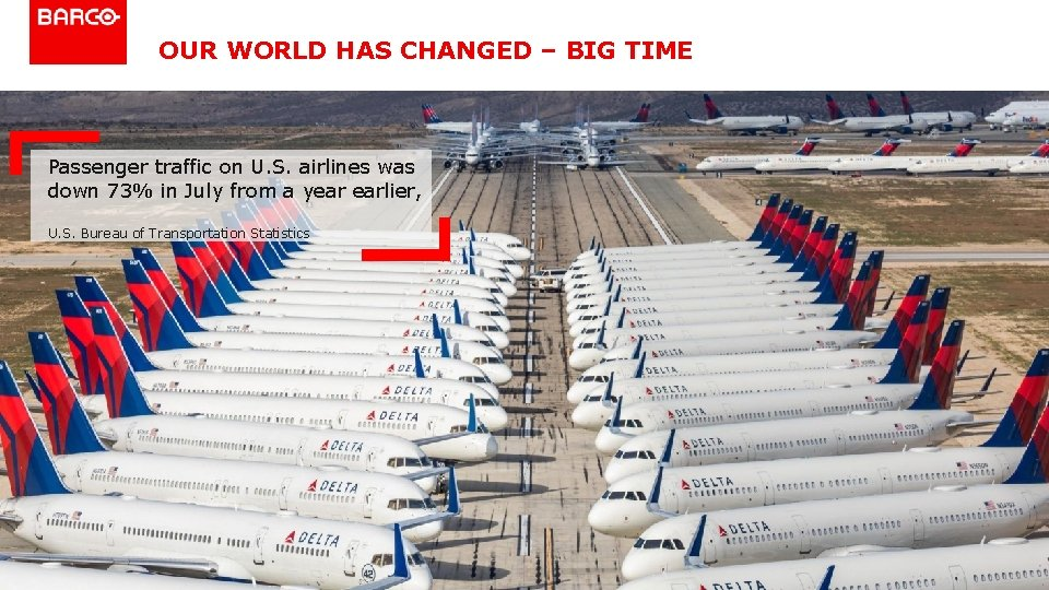 OUR WORLD HAS CHANGED – BIG TIME Passenger traffic on U. S. airlines was