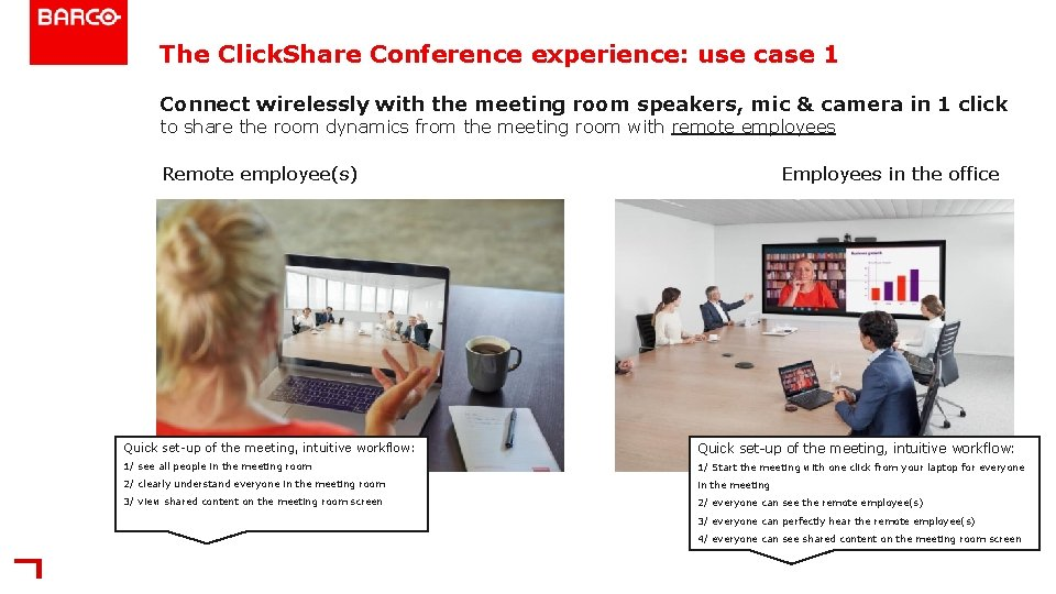 The Click. Share Conference experience: use case 1 Connect wirelessly with the meeting room