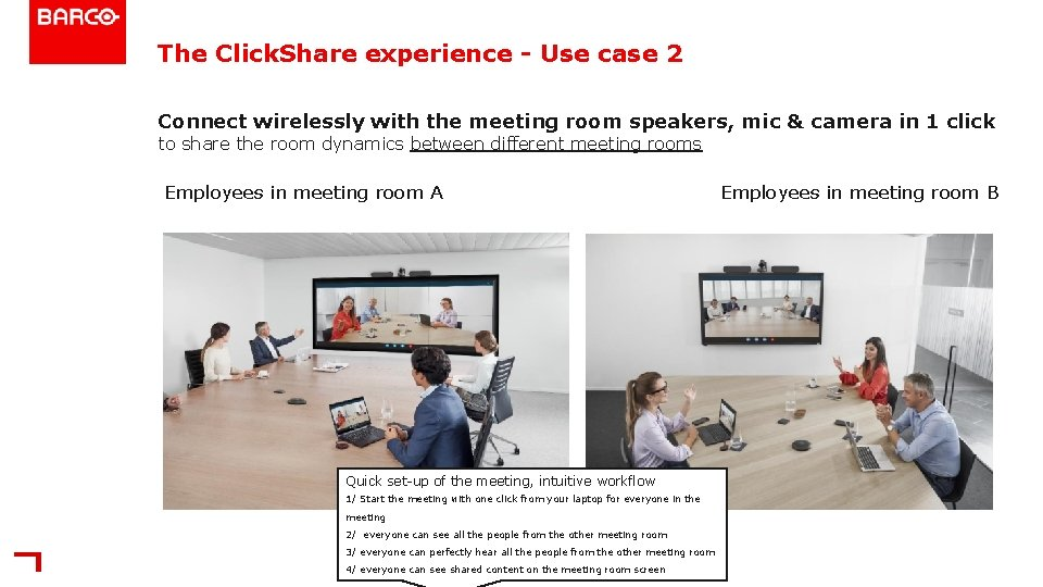 The Click. Share experience - Use case 2 Connect wirelessly with the meeting room