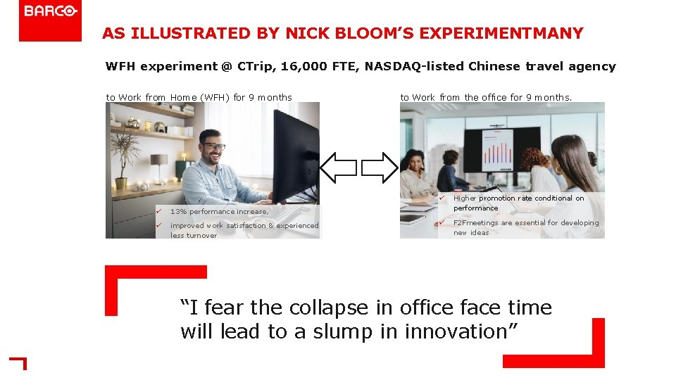 AS ILLUSTRATED BY NICK BLOOM'S EXPERIMENTMANY WFH experiment @ CTrip, 16, 000 FTE, NASDAQ-listed