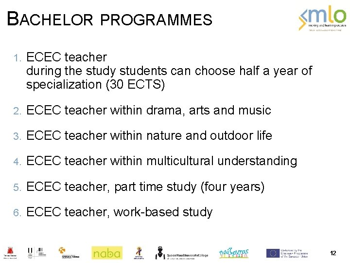 BACHELOR PROGRAMMES 1. ECEC teacher during the study students can choose half a year