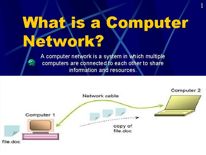 1 What is a Computer Network? A computer network is a system in which