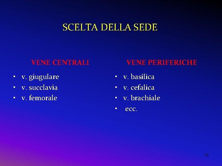 SCELTA DELLA SEDE VENE CENTRALI • v. giugulare • v. succlavia • v. femorale