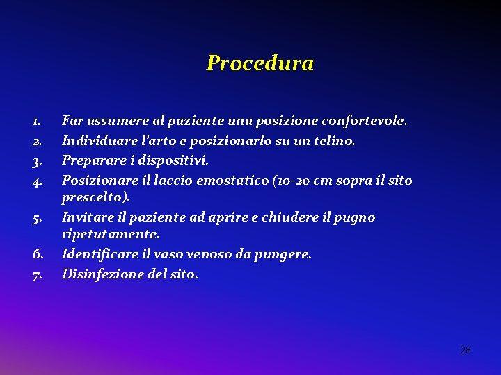 Procedura 1. 2. 3. 4. 5. 6. 7. Far assumere al paziente una posizione