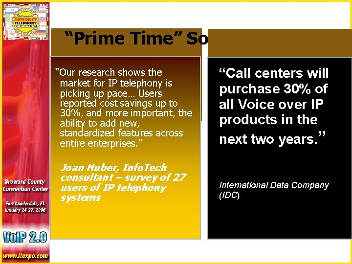 """""""Prime Time"""" Solutions? """"Our research shows the market for IP telephony is picking up"""
