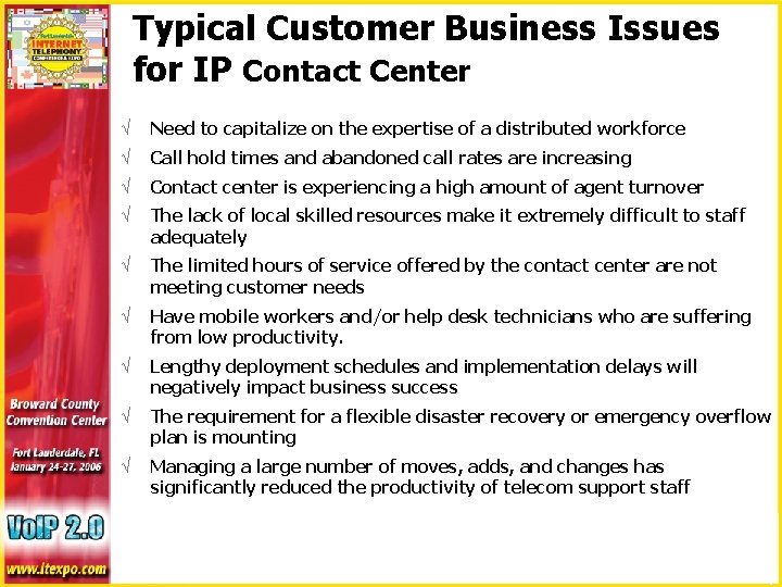 Typical Customer Business Issues for IP Contact Center √ Need to capitalize on the