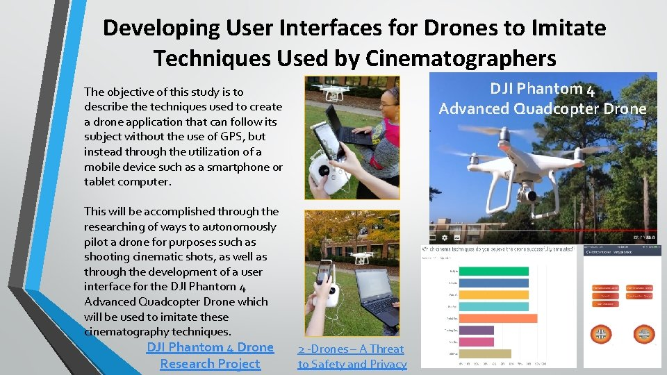Developing User Interfaces for Drones to Imitate Techniques Used by Cinematographers DJI Phantom 4