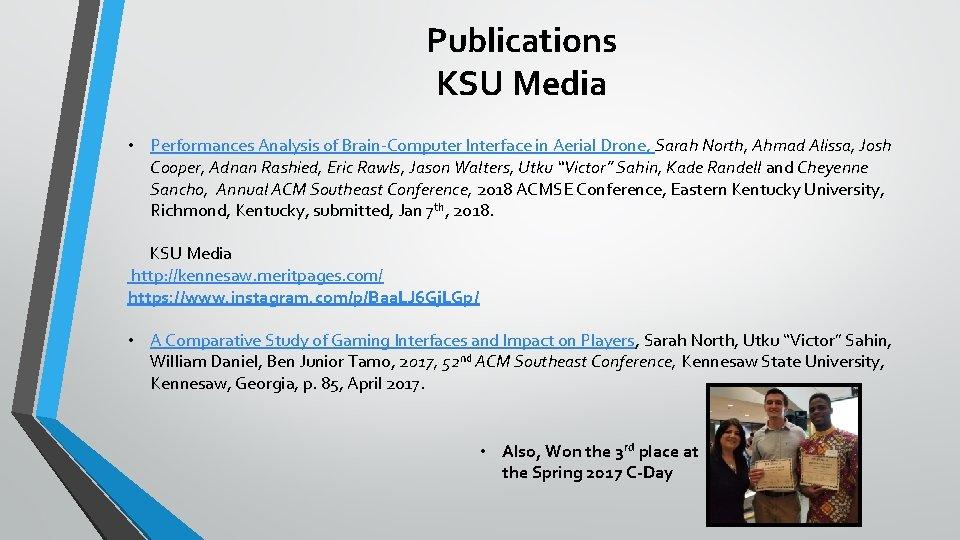 Publications KSU Media • Performances Analysis of Brain-Computer Interface in Aerial Drone, Sarah North,