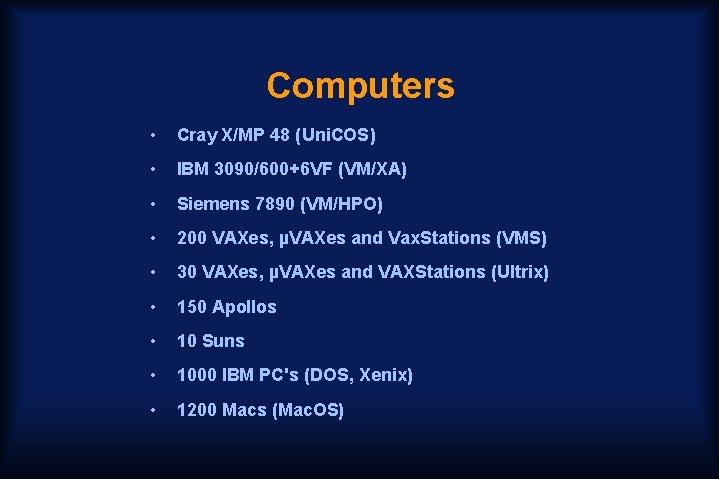 Computers • Cray X/MP 48 (Uni. COS) • IBM 3090/600+6 VF (VM/XA) • Siemens