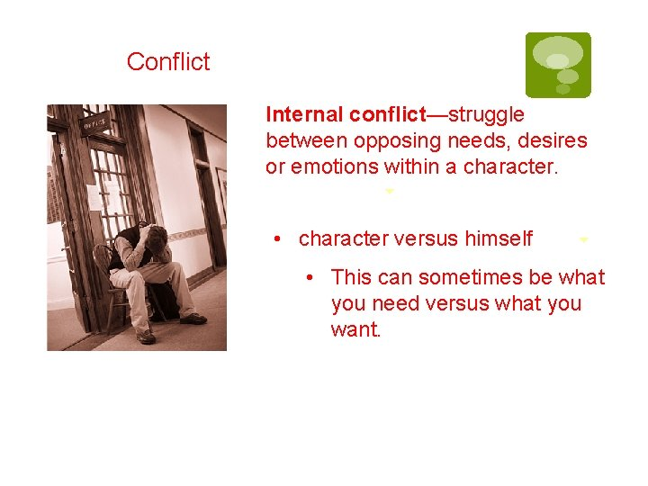 Conflict Internal conflict—struggle between opposing needs, desires or emotions within a character. • character