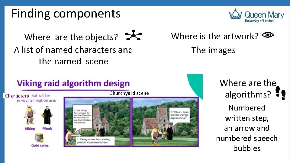 Finding components Where are the objects? A list of named characters and the named