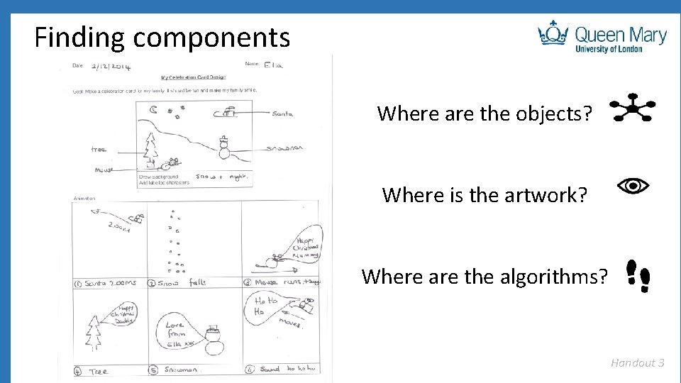 Finding components Where are the objects? Where is the artwork? Where are the algorithms?