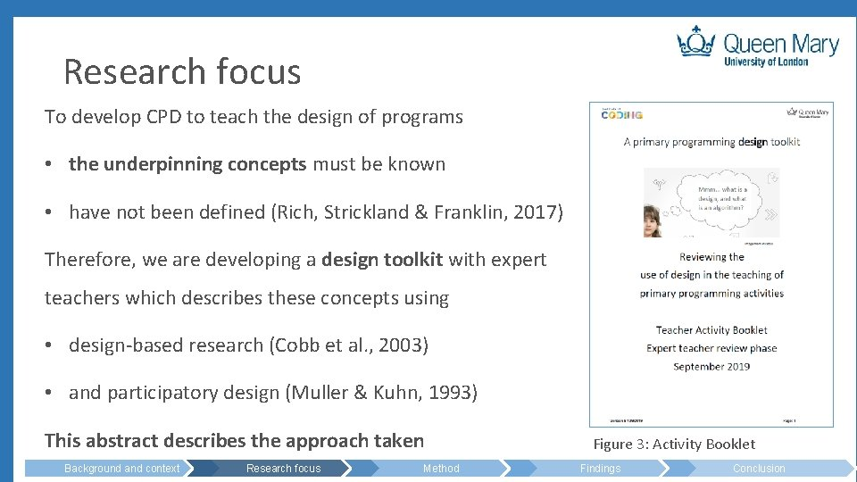 Research focus To develop CPD to teach the design of programs • the underpinning