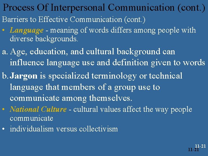 Process Of Interpersonal Communication (cont. ) Barriers to Effective Communication (cont. ) • Language