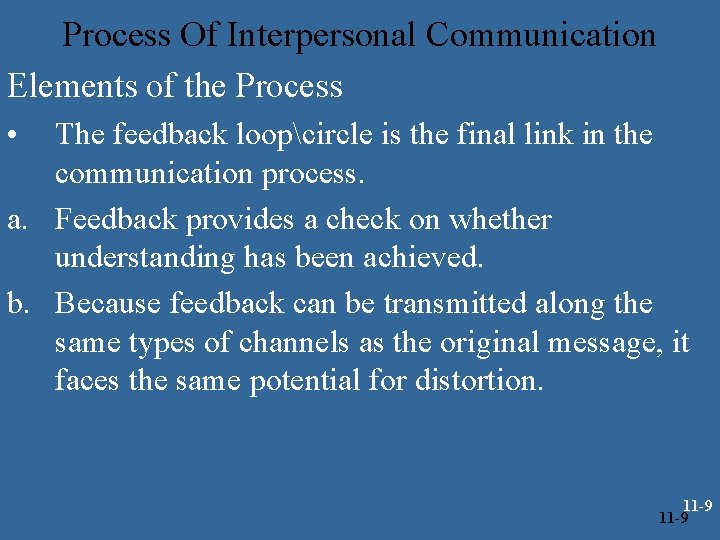 Process Of Interpersonal Communication Elements of the Process • The feedback loopcircle is the