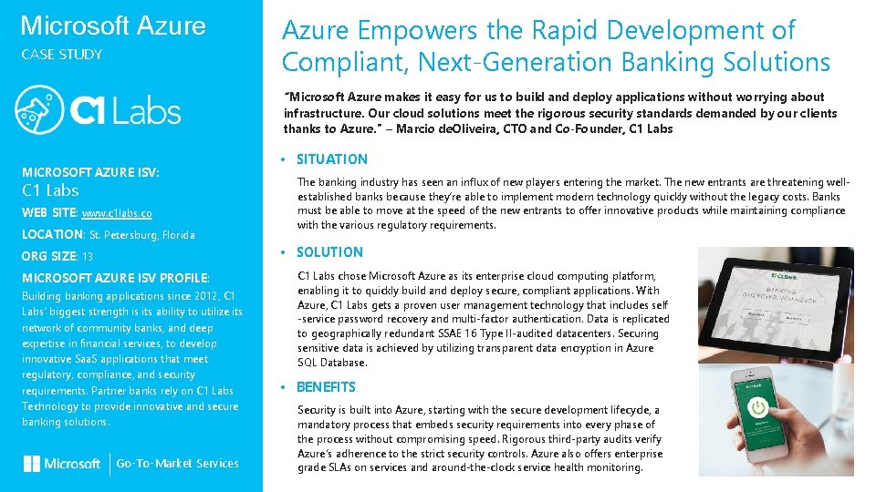 Microsoft Azure CASE STUDY Azure Empowers the Rapid Development of Compliant, Next-Generation Banking Solutions