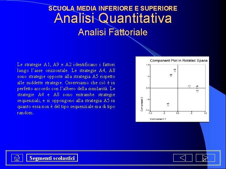 SCUOLA MEDIA INFERIORE E SUPERIORE Analisi Quantitativa Analisi Fattoriale Le strategie A 1, A