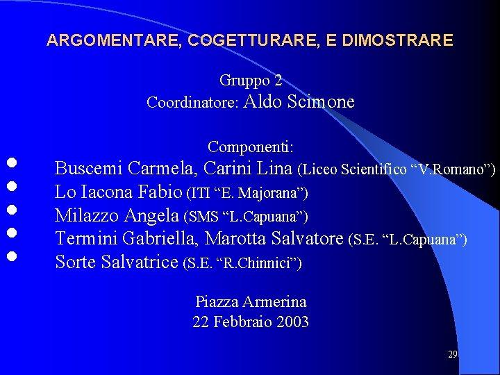 ARGOMENTARE, COGETTURARE, E DIMOSTRARE Gruppo 2 Coordinatore: Aldo Scimone • • • Componenti: Buscemi
