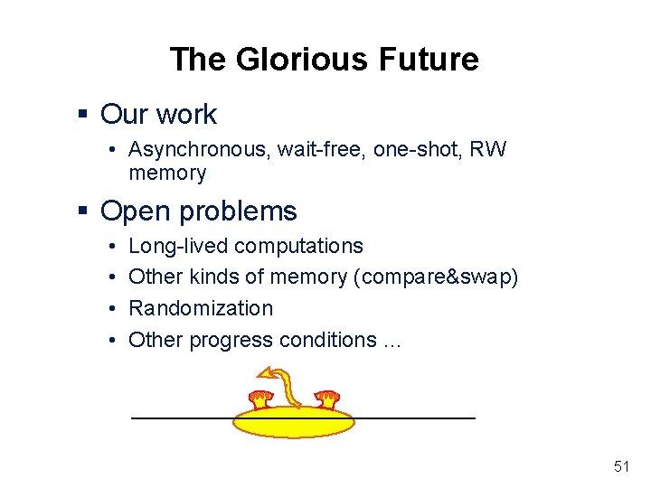 The Glorious Future § Our work • Asynchronous, wait-free, one-shot, RW memory § Open