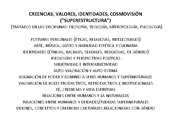 """CREENCIAS, VALORES, IDENTIDADES, COSMOVISIÓN (""""SUPERESTRUCTURA"""") (TRATADOS EN LAS DISCIPLINAS: FILOSOFÍA, TEOLOGÍA, ANTROPOLOGÍA, PSICOLOGÍA)"""