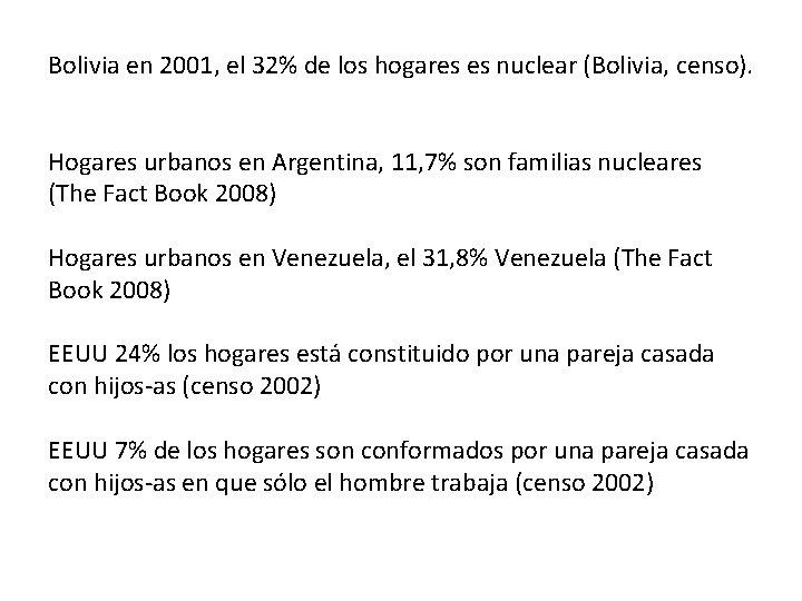 Bolivia en 2001, el 32% de los hogares es nuclear (Bolivia, censo). Hogares urbanos