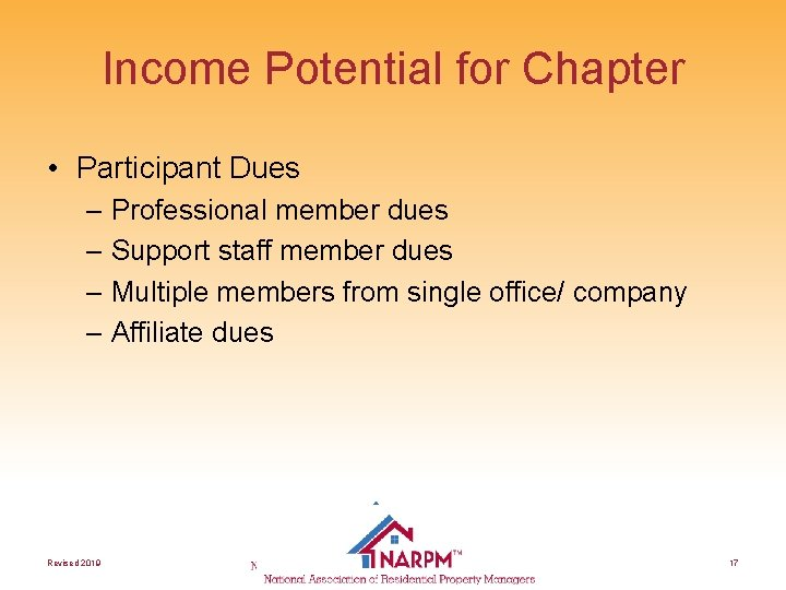 Income Potential for Chapter • Participant Dues – Professional member dues – Support staff