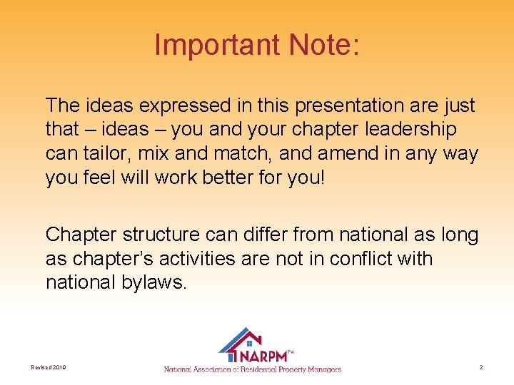 Important Note: The ideas expressed in this presentation are just that – ideas –