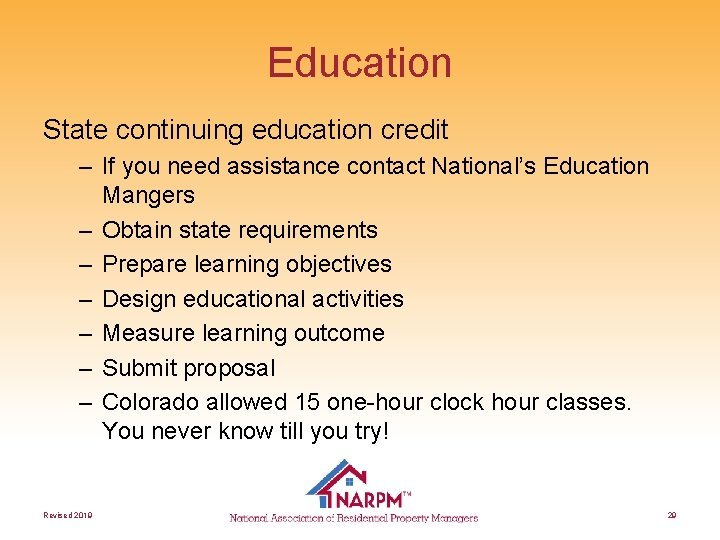Education State continuing education credit – If you need assistance contact National's Education Mangers