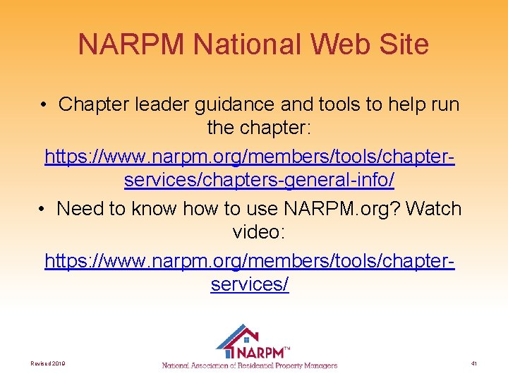 NARPM National Web Site • Chapter leader guidance and tools to help run the