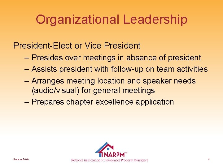 Organizational Leadership President-Elect or Vice President – Presides over meetings in absence of president