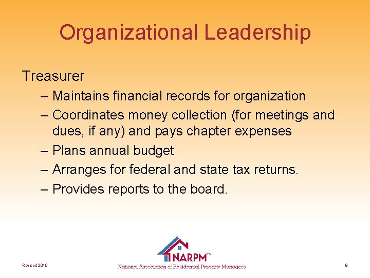 Organizational Leadership Treasurer – Maintains financial records for organization – Coordinates money collection (for