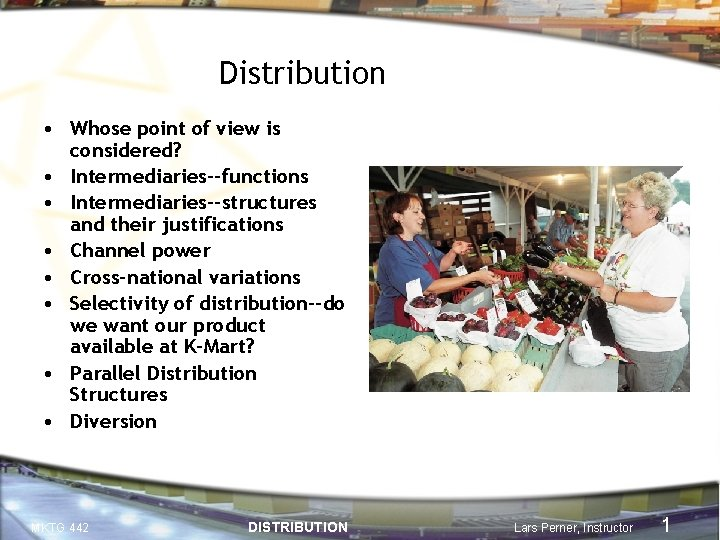 Distribution • Whose point of view is considered? • Intermediaries--functions • Intermediaries--structures and their
