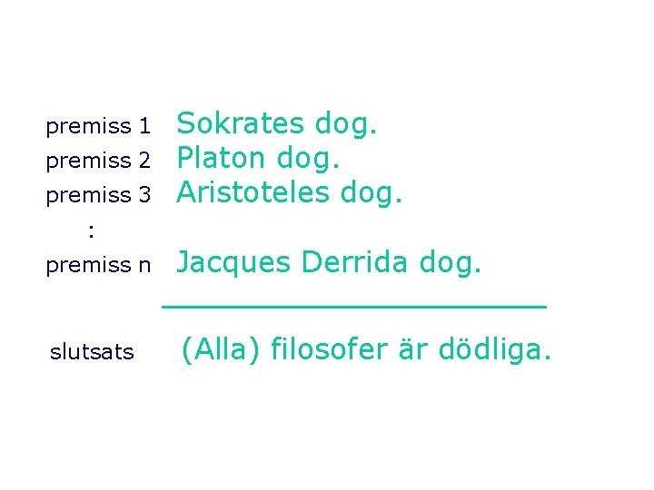 premiss 1 premiss 2 premiss 3 Sokrates dog. Platon dog. Aristoteles dog. : premiss
