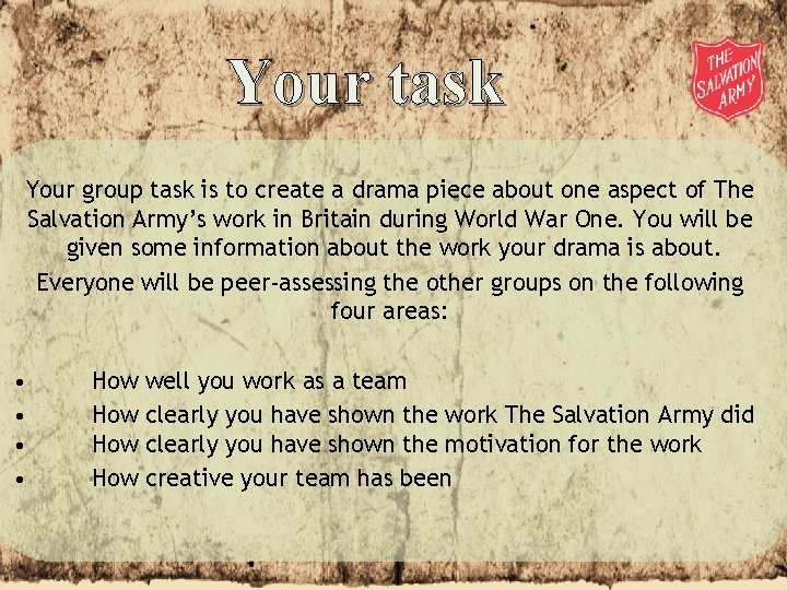 Your task Your group task is to create a drama piece about one aspect