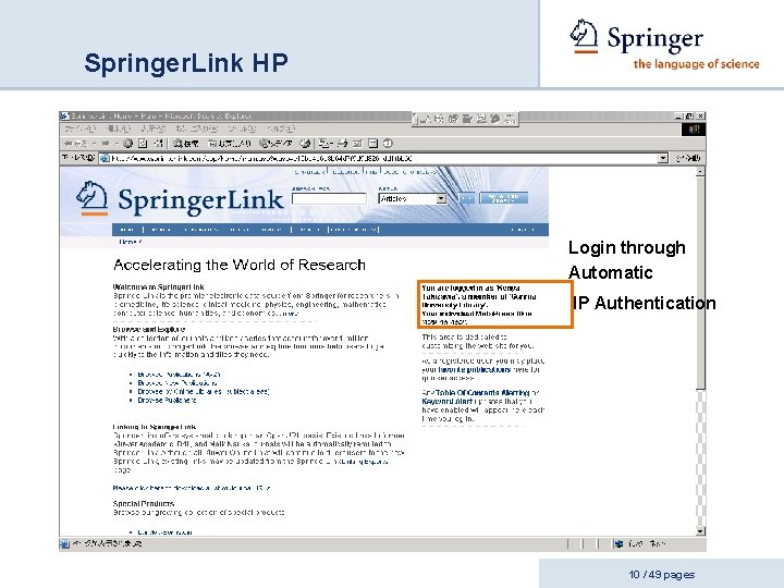 Springer. Link HP Login through Automatic IP Authentication 10 / 49 pages